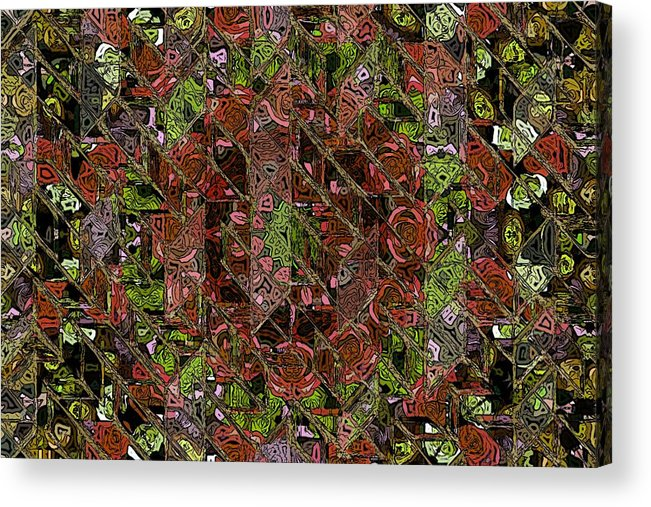 Chaos Abstract Digital Painting Red Rose Roses Black Hole Mosaic Texture  Acrylic Print featuring the painting Chaos by Steve K