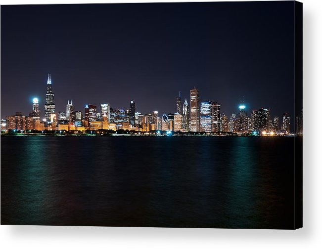Chicago Acrylic Print featuring the photograph Chicago At Night by Mark Whitt