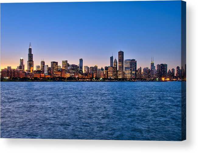 Chicago Acrylic Print featuring the photograph Chicago At Sunset by Mark Whitt