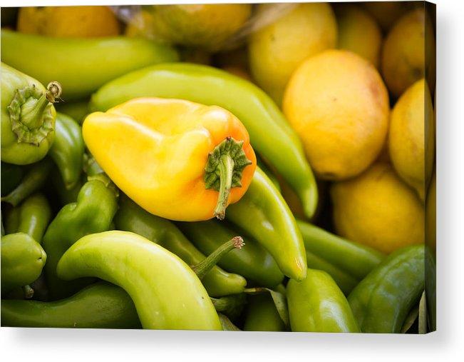 Yellow Chili Acrylic Print featuring the photograph Chili And Lemon by Dina Calvarese