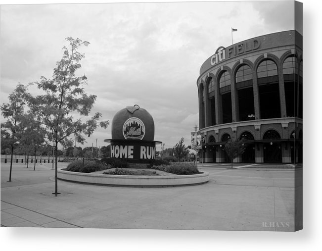 Shea Stadium Acrylic Print featuring the photograph Citi Field In Black And White by Rob Hans