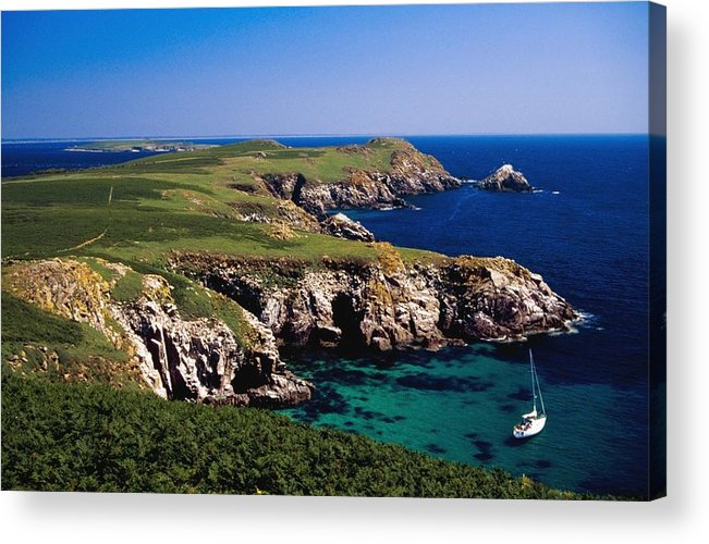 Cliff Acrylic Print featuring the photograph Coastal Cliffs And Seascape With Boat by Gareth McCormack