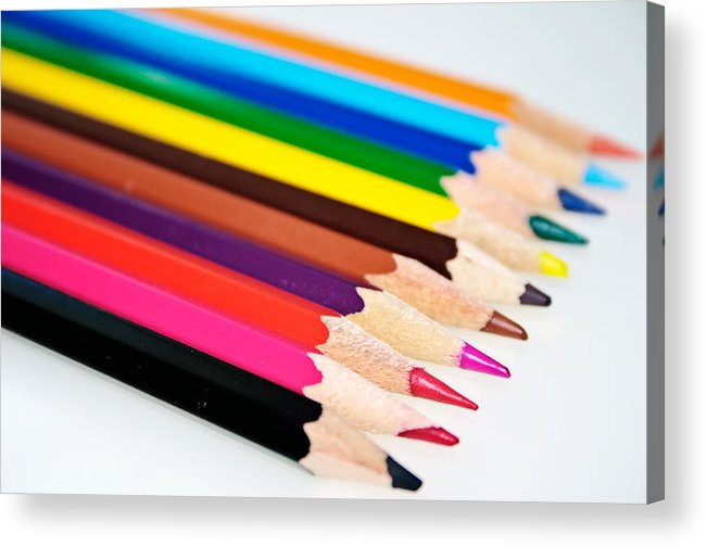 Pencil Acrylic Print featuring the photograph Colored Pencils by Jarrod Erbe