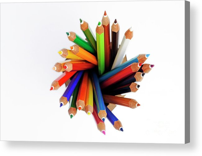 Variation Acrylic Print featuring the photograph Colorful Crayons In Jar by Sami Sarkis