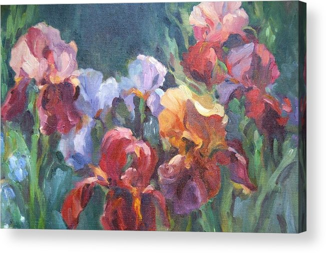 Iris Garden In Oil Acrylic Print featuring the painting Colors Of The Rainbow by Elizabeth Taft