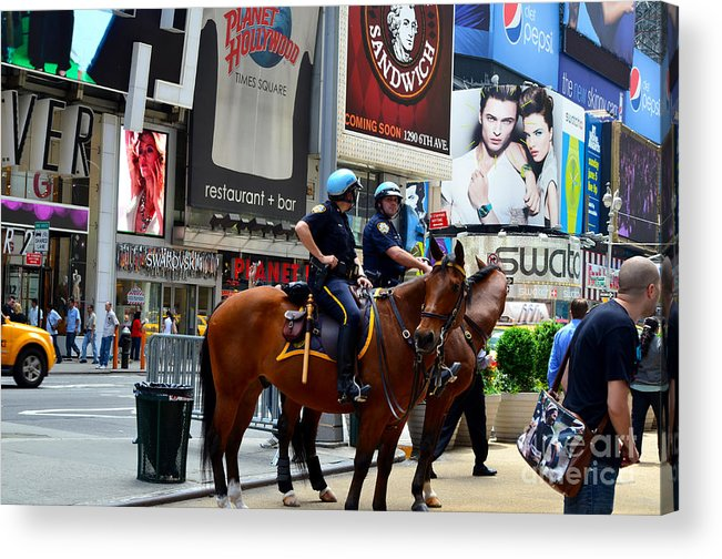 New York Acrylic Print featuring the photograph Cops In Manhattan by Pravine Chester