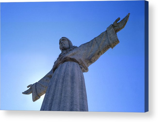 Catholic Monument Of Jesus Christ Inspired By The Christ The Redeemer Statue In Rio De Janeiro Acrylic Print featuring the sculpture Cristo Rei by Anonymous