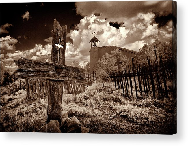 Los Golondrinas Acrylic Print featuring the photograph Cross At Los Golondrinas by Christine Hauber