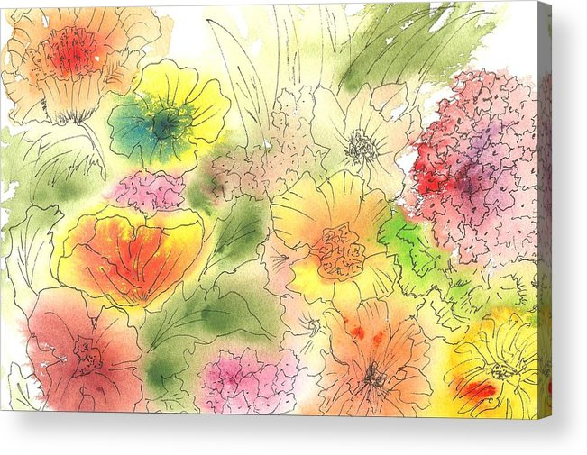 Watercolor Acrylic Print featuring the painting Dancing Flowers by Christine Crawford