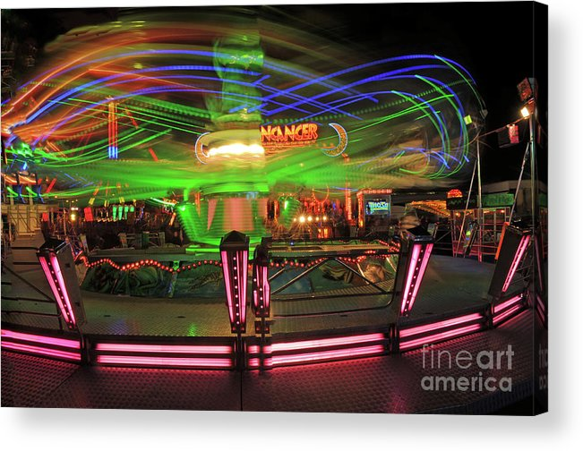 Fairground Acrylic Print featuring the photograph Dancing Lights 1 by David Hollingworth