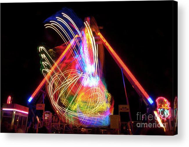 Fairground Acrylic Print featuring the photograph Dancing Lights Magical Light Trails by David Hollingworth