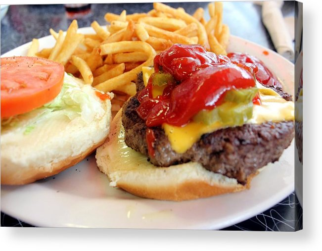 Hamburger Acrylic Print featuring the photograph Diner Burger by Rdr Creative