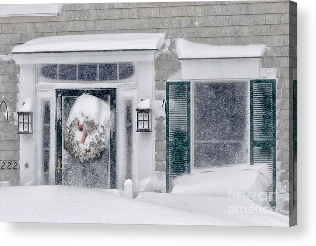 Cape Cod Home Acrylic Print featuring the photograph Door And Window Of Cape Cod Home During Blizzard Of '05 by Matt Suess