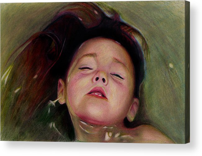 Girl Acrylic Print featuring the drawing Drifting Off by Brian Scott