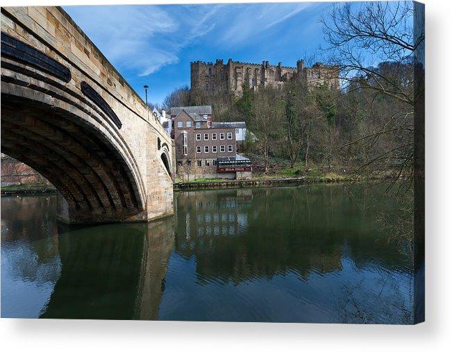 Bridge Acrylic Print featuring the photograph Durham Castle by Gary Finnigan