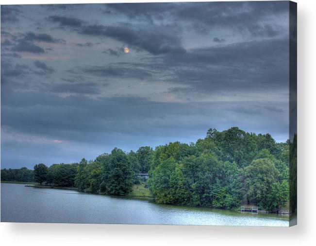 Trees Acrylic Print featuring the photograph Early Moon by Barry Jones