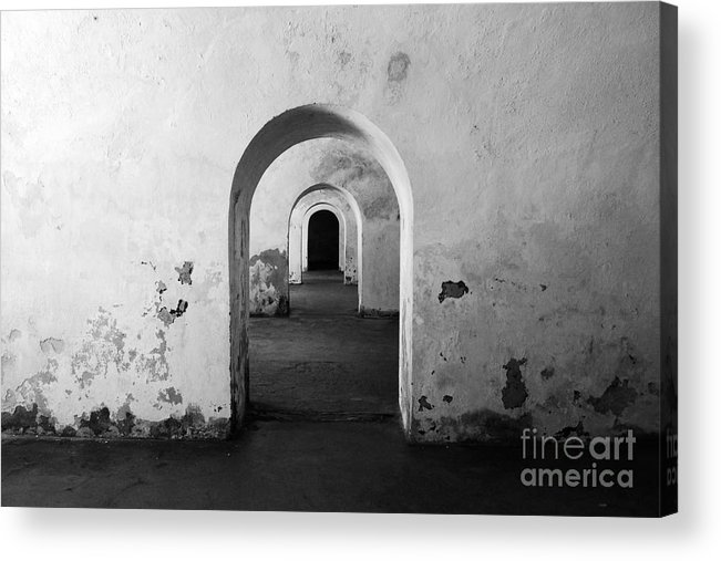 Travelpixpro Puerto Rico Acrylic Print featuring the photograph El Morro Fort Barracks Arched Doorways San Juan Puerto Rico Prints Black And White by Shawn O'Brien