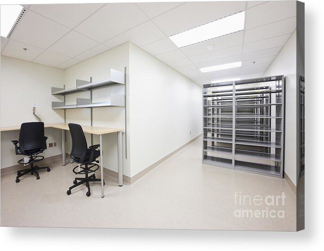 Architecture Acrylic Print featuring the photograph Empty Metal Shelves And Workstations by Jetta Productions, Inc