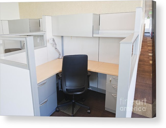 Architecture Acrylic Print featuring the photograph Empty Office Cubicle by Jetta Productions, Inc