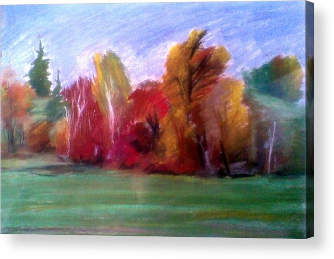 Landscape Acrylic Print featuring the pastel Fall by Vaidos Mihai