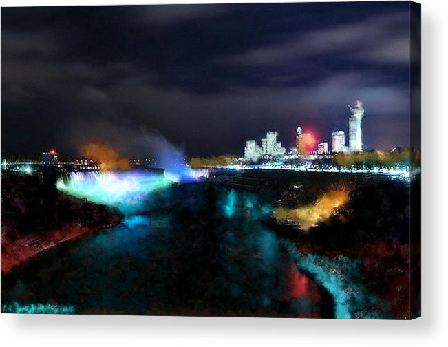 Nature Acrylic Print featuring the digital art Falls by Ilias Athanasopoulos