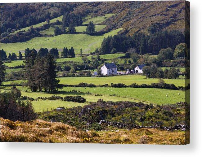Farmhouse Acrylic Print featuring the photograph Farmland Near Kilgarvan County Kerry by Ken Welsh