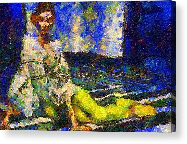 Impressionist Fashion Painting Acrylic Print featuring the painting Fashion 70 by Jacques Silberstein