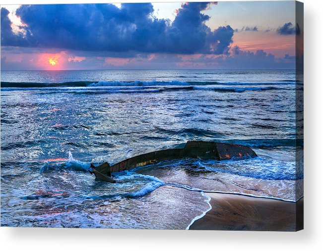 Outer Banks Acrylic Print featuring the photograph Final Sunrise - Beached Boat On The Outer Banks by Dan Carmichael