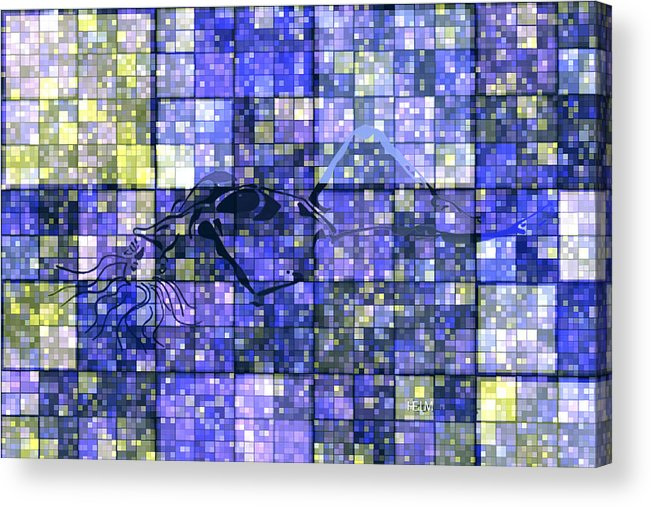 Hearts Digital Art Acrylic Print featuring the digital art First Time Geometric Lavender by Mayhem Mediums