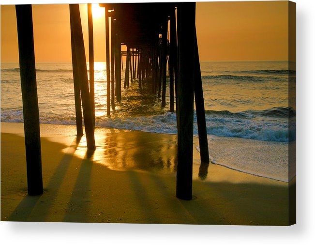 Fish Acrylic Print featuring the photograph Fishing Pier And Surf II by Steven Ainsworth