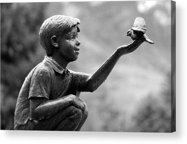 Black And White Acrylic Print featuring the photograph Frozen In The Rain by Ken Vaughn