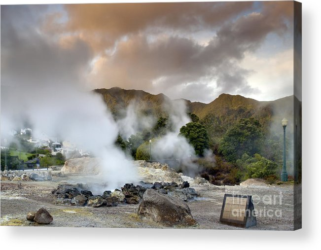 Azores Acrylic Print featuring the pastel Furnas by Andre Goncalves