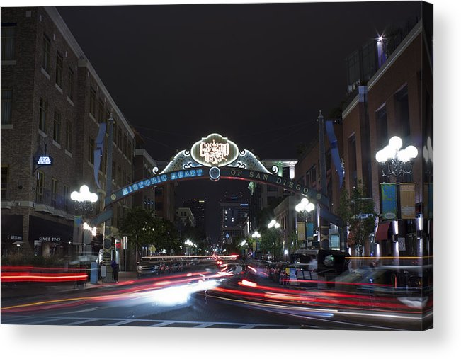 City Acrylic Print featuring the photograph Gas Lamp Disctrict by Benjamin Street