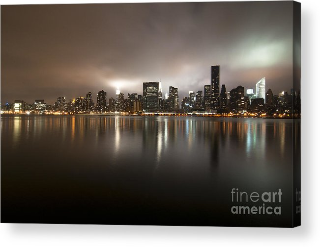 Skyline New York City Clouds River Rain Light Gloomy Reflection Night Photography Buildings Acrylic Print featuring the photograph Ghostly Skyline by Darwin Lopez