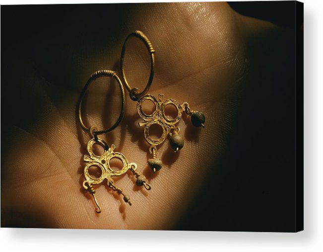 Atlantic Islands Acrylic Print featuring the photograph Gold Earrings Hung With Pearls Are Part by Ira Block