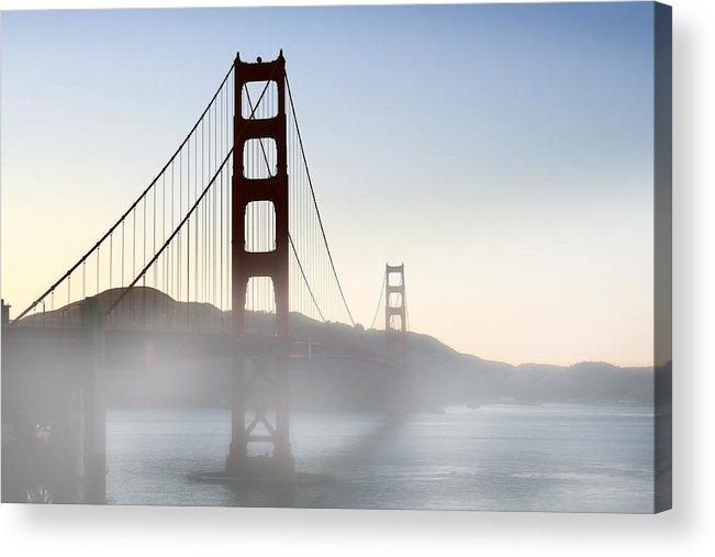 Ca Acrylic Print featuring the photograph Golden Gate Bridge In Fog by Joe Myeress