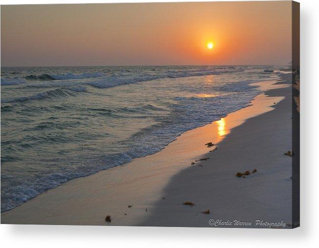 Beach Acrylic Print featuring the pyrography Grayton Beach Sunset 5 by Charles Warren
