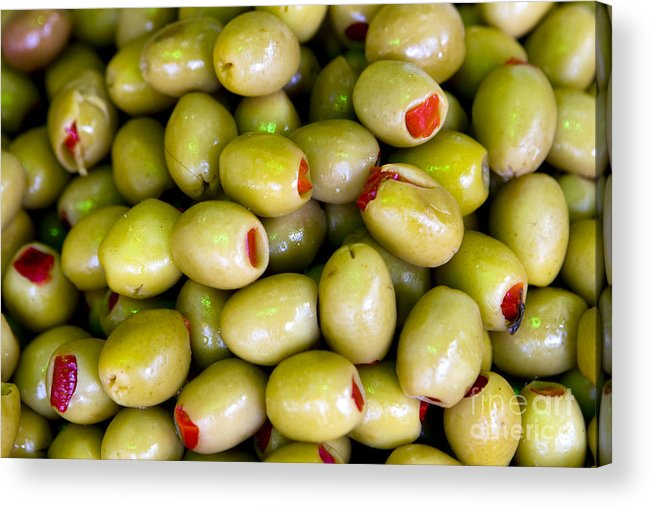 Olives Acrylic Print featuring the photograph Green Olives by Leslie Leda