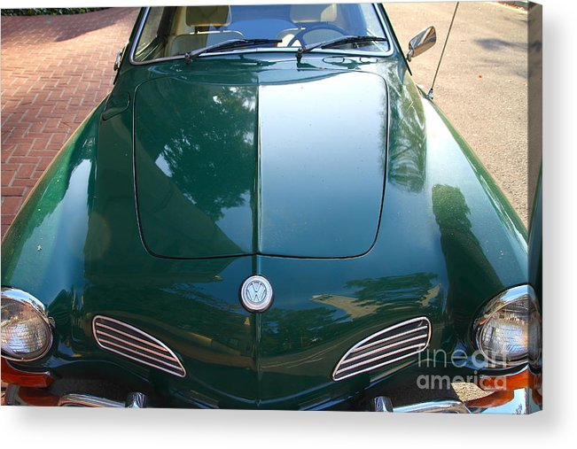Wingsdomain Acrylic Print featuring the photograph Green Volkswagon Karmann Ghia . 7d10088 by Wingsdomain Art and Photography