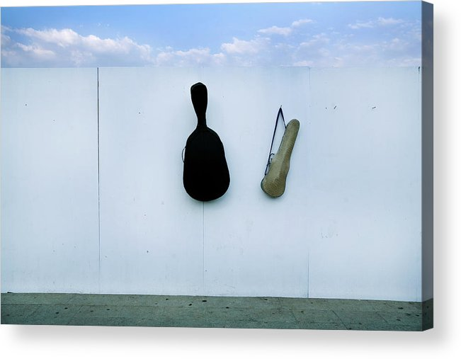 Horizontal Acrylic Print featuring the photograph Guitar And Violin Case In Plaza Garibaldi In Df. by 4 Eyes Photography