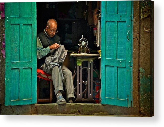 Kathmandu Acrylic Print featuring the photograph Handsewn With Care by Valerie Rosen