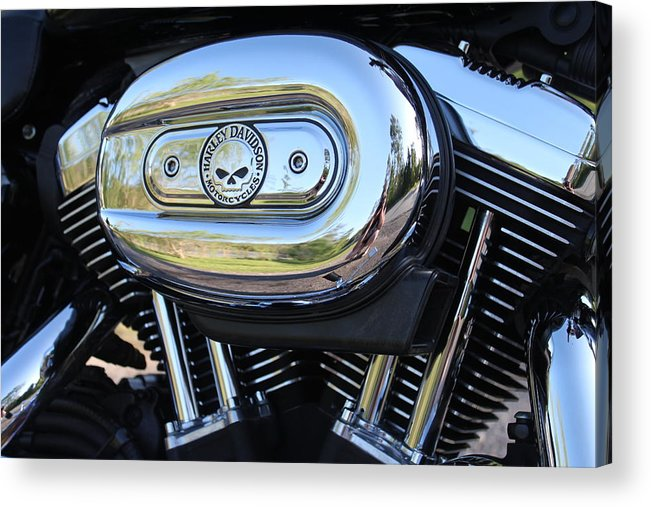 Harley Acrylic Print featuring the photograph Harley Chrome by Christean Ramage