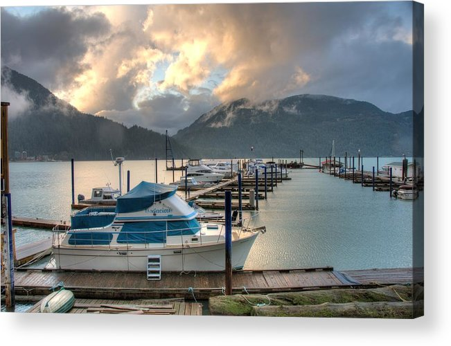 Harrison Acrylic Print featuring the photograph Harrison Lake At Dusk by Lawrence Christopher
