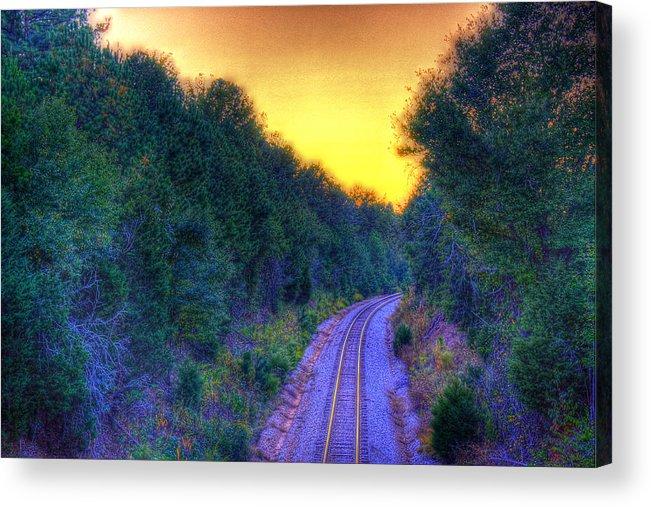 Railroad Acrylic Print featuring the photograph Hdr- Railroad Tracks by Joe Myeress