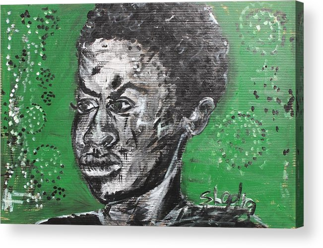 Portrait Acrylic Print featuring the painting He Is Just A Boy by Sladjana Lazarevic