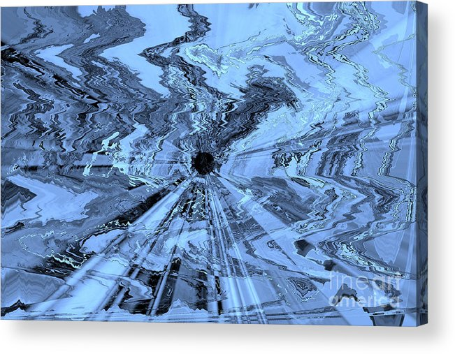 Blue Abstract Acrylic Print featuring the photograph Ice Blue - Abstract Art by Carol Groenen