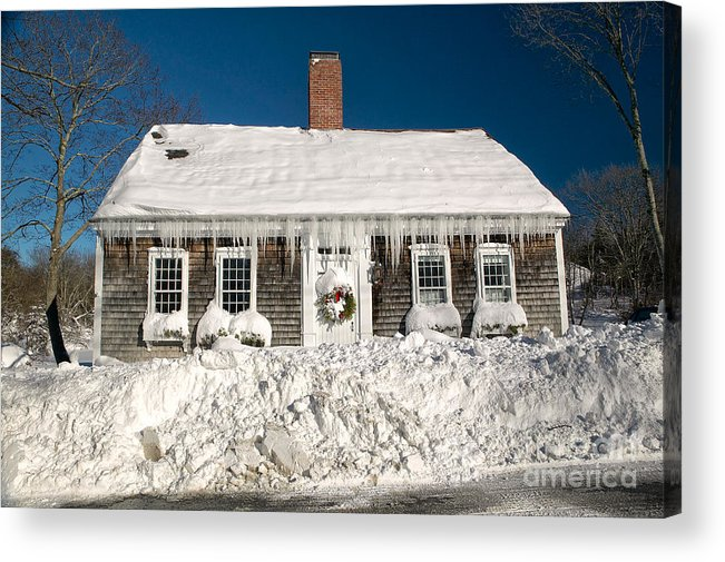 Winter Acrylic Print featuring the photograph Icicles Hang From The Roof Of This Home In Barnstable On Cape Co by Matt Suess