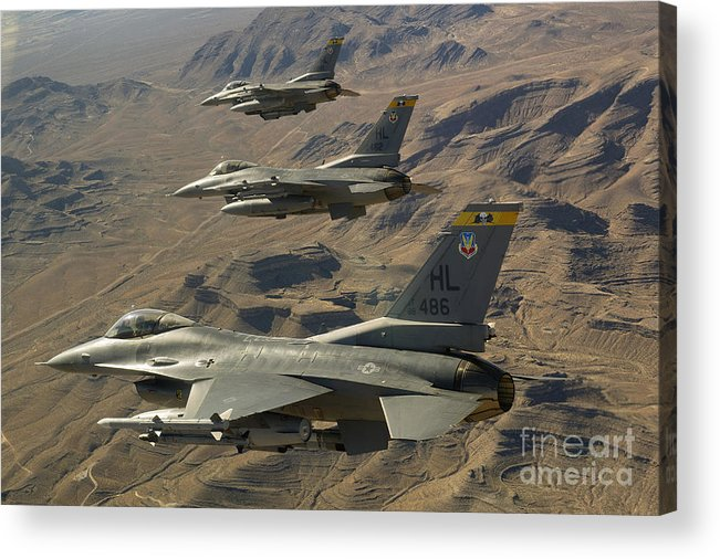 F-16 Acrylic Print featuring the photograph Ighter Jets Return From The Nevada Test by Stocktrek Images