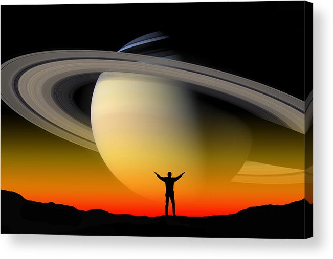 Saturn Acrylic Print featuring the photograph In Awe Of Saturn by Larry Landolfi