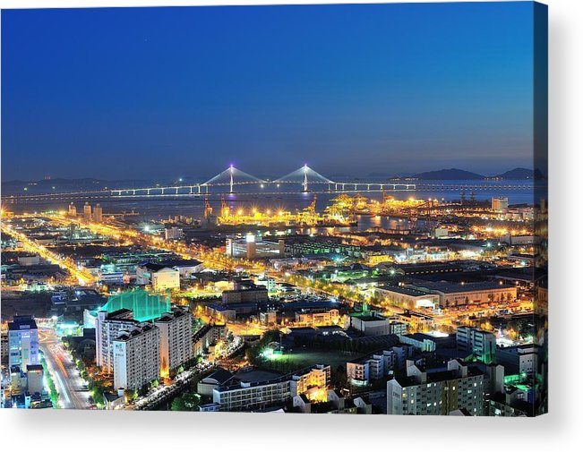 Horizontal Acrylic Print featuring the photograph Incheon City by Tokism